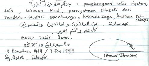 tulisan tangan dan tandatangan DSAI